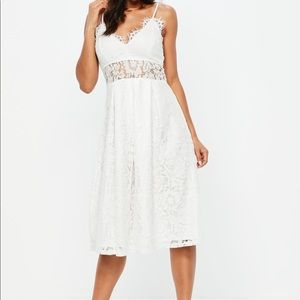 Misguided White Lace Midi Dress